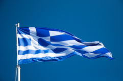 Greece flag. Flies in the sky Royalty Free Stock Images