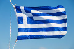 Greece Flag Fluttering In The Wind Royalty Free Stock Photos