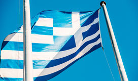 Greece flag in fron of European Parliament building Stock Images