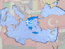Greece with flag on globe Stock Images