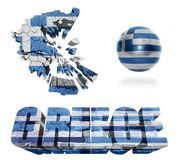 Greece Symbols. Greece flag and map in different styles in different textures Stock Photography