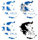 Greece flag over map collage Royalty Free Stock Image