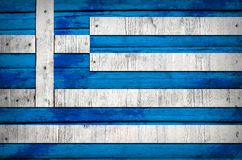 Greece flag painted on wooden boards Stock Images