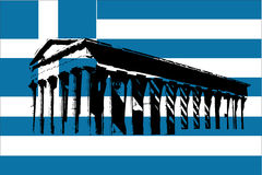 Greece flag with Parthenon Stock Image