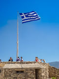 Greece flag at the Parthenon temple at the Acropoli Stock Image