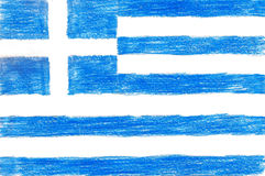 Greece flag, pencil drawing illustration kid style photo Royalty Free Stock Image