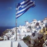 Greece flag. Santorini greece landscape Stock Images