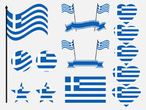 Greece flag set. Collection of symbols, flag in heart. Button and star. Vector. Illustration Stock Image