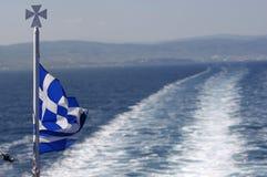 Greece flag ship backwash. Greek Flag and ship backwash Stock Images