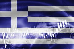 Greece flag, stock market, exchange economy and Trade, oil production, container ship in export and import business and logistics. Background, banner, blue stock illustration