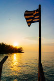 Greece flag and sunset Stock Photo