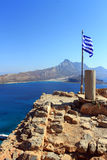 Greece flag. View from the fortress Gramvous to the sea and island Stock Photography