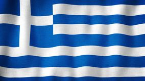 Greece flag waving in the wind. Closeup of realistic Greek flag with highly detailed fabric texture