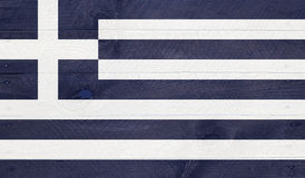 Greece flag on wood boards with nails Royalty Free Stock Photos