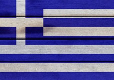 Greece flag on a wood Royalty Free Stock Images