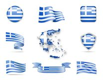 Greece Flags Collection. Flags and contour map. Vector illustration Royalty Free Illustration