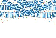 Greece flags garland white background with confetti. Hanging bunting for Greece Independence Day celebration template banner, Vector illustration Royalty Free Stock Photo