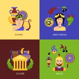 Greece flat set. Greece flat icons set with olympic greek woman culture isolated vector illustration Royalty Free Stock Photography