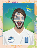 Greece football fan shouting Stock Images