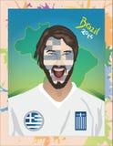 Greece football fan shouting Stock Images