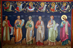 Greece, fresco. Holy monasteries in Greece, fresco of saints and holy men Stock Images