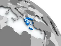 Map of Greece with flag on globe Stock Images