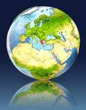 Greece on globe with reflection. Illustration with detailed planet surface. Elements of this image furnished by NASA Stock Photo