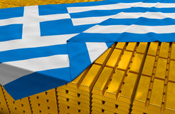 Greece gold reserve stock. (creative concept): golden bars (ingots, bullions) are covered with greek flag in the storage (treasury) as symbol of national gold Royalty Free Stock Photo