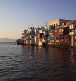 Greece Greek Isles Mikonos at dusk Royalty Free Stock Image