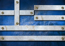 Greece Grunge Metal Flag Stock Photography