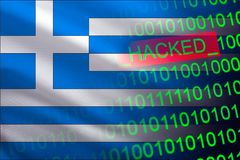 Greece hacked state security. Cyberattack on the financial and banking structure. Theft of secret information. On a background of a flag the binary code Royalty Free Stock Image