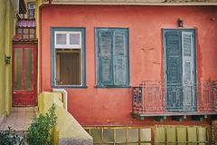 Greece, Hydra island, vintage house facade Royalty Free Stock Image
