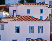 Greece Hydra island, white wash wall houses Royalty Free Stock Image