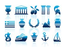 Greece icons. Vector illustration. Greece icons. Set of vector symbols with shadows Royalty Free Stock Photo