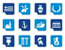 Greece icons on stickers. Vector illustration of traditional symbols Royalty Free Stock Photography