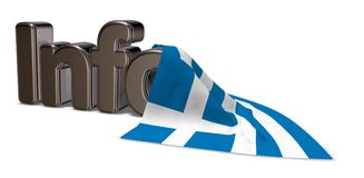 Greece info. The word info and flag of greece - 3d rendering stock illustration