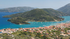 Greece Ionian islands Lefkada Vlicho Bay and Nidri. Panoramic view of Vlychos bay and Nydri town Lefkada, Greece. View over town of Nidri royalty free stock photo