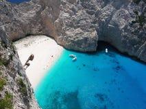 Greece, Ionian sea. Bird-eye of beach in island Zakintos, Greece Royalty Free Stock Photos