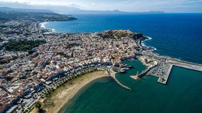 Greece. Island of Crete. Rethymno. Drone photography contest. Lighthouse stock photo