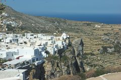 Greece, the island of Folegandros.  A view to the Kastro and Chora. stock photography