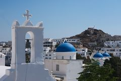 Greece the island of Ios, churches and blue domes in the old village. Greece the island of Ios. The ancient village Chora.  The capital of the island.  A view royalty free stock images