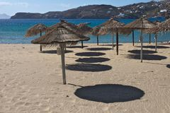 Greece the island of Ios. Sun umbrellas. stock images