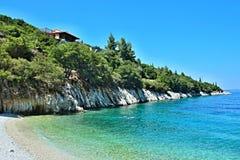 Greece, the island of Ithaki -seacoast near Frikes. View of the beach and seacoast near town Frikes on the island of Ithaki in Greece stock image