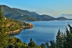 Greece, the island of Ithaki -seacoast near Kioni. View of the seacoast near town Kioni on the island of Ithaki in Greece Stock Photo