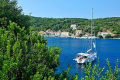 Greece,island Ithaki-view of the Kioni. View of the town Kioni on the island Ithaki in Greece Stock Photos
