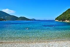Greece,island Ithaki-view of the seacoast near Frikes. View of the beach and seacoast near town Frikes on the island of Ithaki in Greece Stock Photo