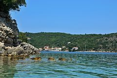 Greece,island Ithaki-view of the seacoast near Kioni. View of the seacoast and town Kioni on the island Ithaki in Greece Stock Photo