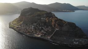 Greece island on a misty day. Aerial shot stock video