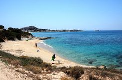 Greece the island of Naxos. A sandy beach at Mikri Vigla. stock photography