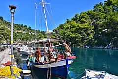 Greece, the island of Paxos - fishing boat in the port of Gaios Royalty Free Stock Images